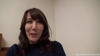 Japanese bush-leaguer Reiko Sawamura moans while riding her coadjutor