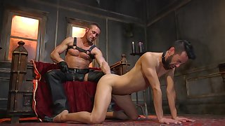 Gay lovers share brutal leafless back BDSM gay play