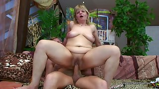 Older Flabbiness Layman Woman Riding Younger Cock