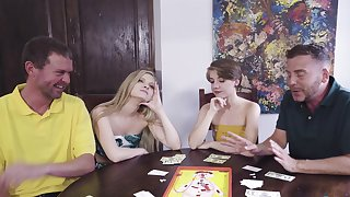 Poker night foursome with sexy chicks Harlow West increased by Dakota Burns