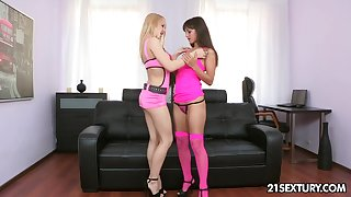 Duo horrific girlfriend Shrima Malati with the addition of Olivia Crace are toying anal holes