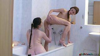 Lesbian Girlfriends Daphne And Kira Get It On During Bathtime - Kira Zen, Daphne Bettor And Jmac