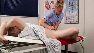 Hot nurse gives this man be transferred to best handjob around his entire gambol