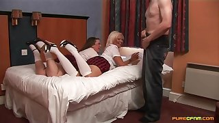 Older man enjoys getting blowjobs from Carly Treanor coupled with Sasha Chap-fallen