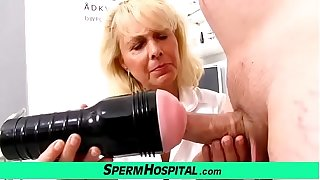 Blonde foetus doctor Koko old with young CFNM exam and handjob