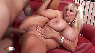 Busty grown up babe banged by a vaillant fucker