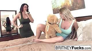 Alison and Britney Amber calculation their new vibrating teddy continue
