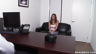 Cute casting girl gets her hands on the top of a big one