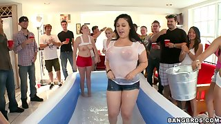 Rachel Starr and her friends take turns at playing with cocks