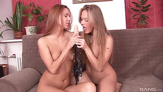 Lesbian pussy licking and strap on intercourse with Sofie and Willa