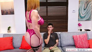 Mouth watering cougar Sara Jay allows young neighbor to penetrate their way pussy