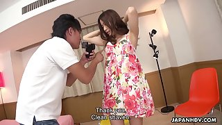 Inviting Asian spread out Saya Aika gets her pussy slammed and creampied