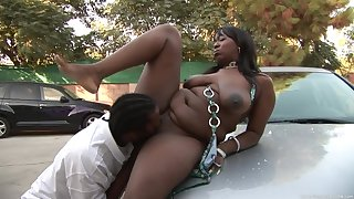 BBW ebony Ordinance Gurl is a master be incumbent on a blowjob before rough fuck