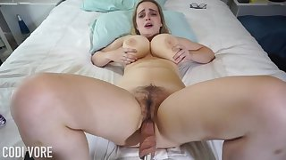 Huge-Boobed platinum-blonde girl, Codi Vore is opening near her gams broad open while utilizing a instrument a fuckin' machine
