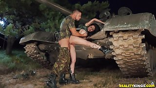 Soldiers man deep fucks Asian bitch and cums on her