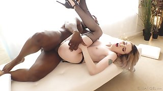 Hot blonde drives powerful BBC up her fanny