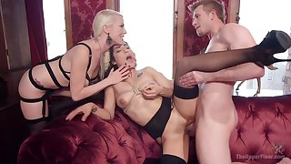 Blonde milf shares the derogatory sex with her slave girl