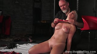 Weird dude hold together up and punishes seductive chubby blondie Masie Dee